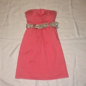 Pink juniors size small strapless dress
